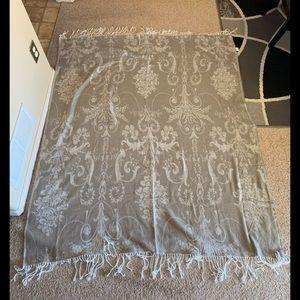Jaclyn Smith tanish/greyish blanket with fringe